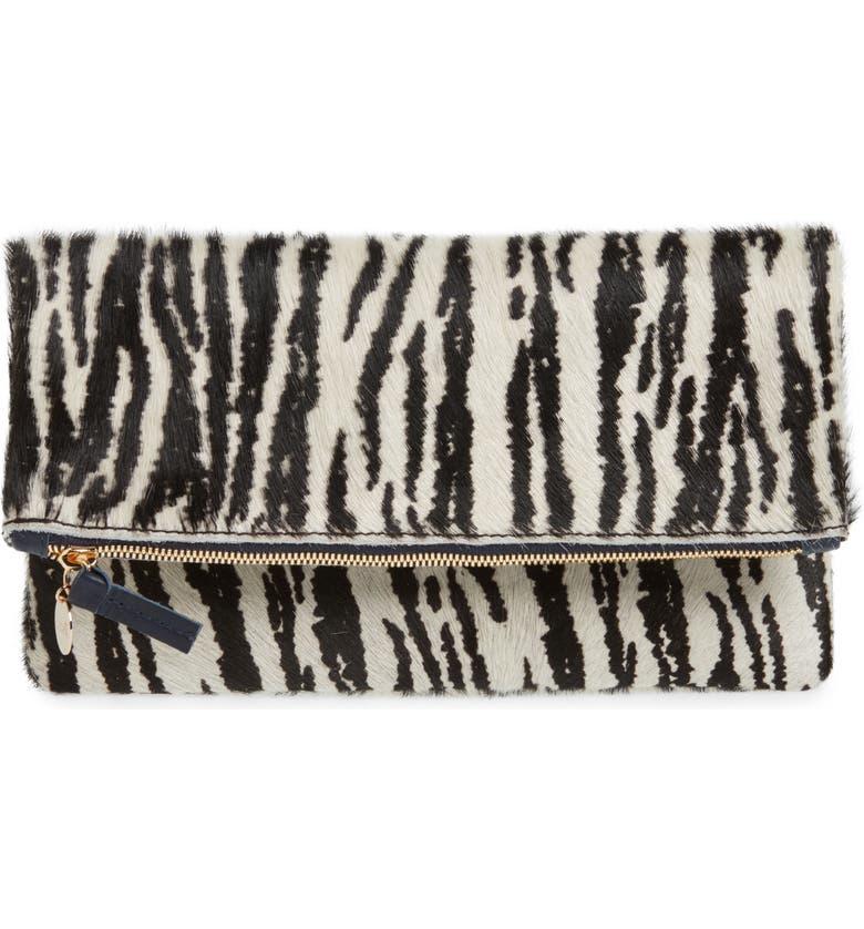CLARE V. Zebra Print Genuine Calf Hair Foldover Clutch, Main, color, 900
