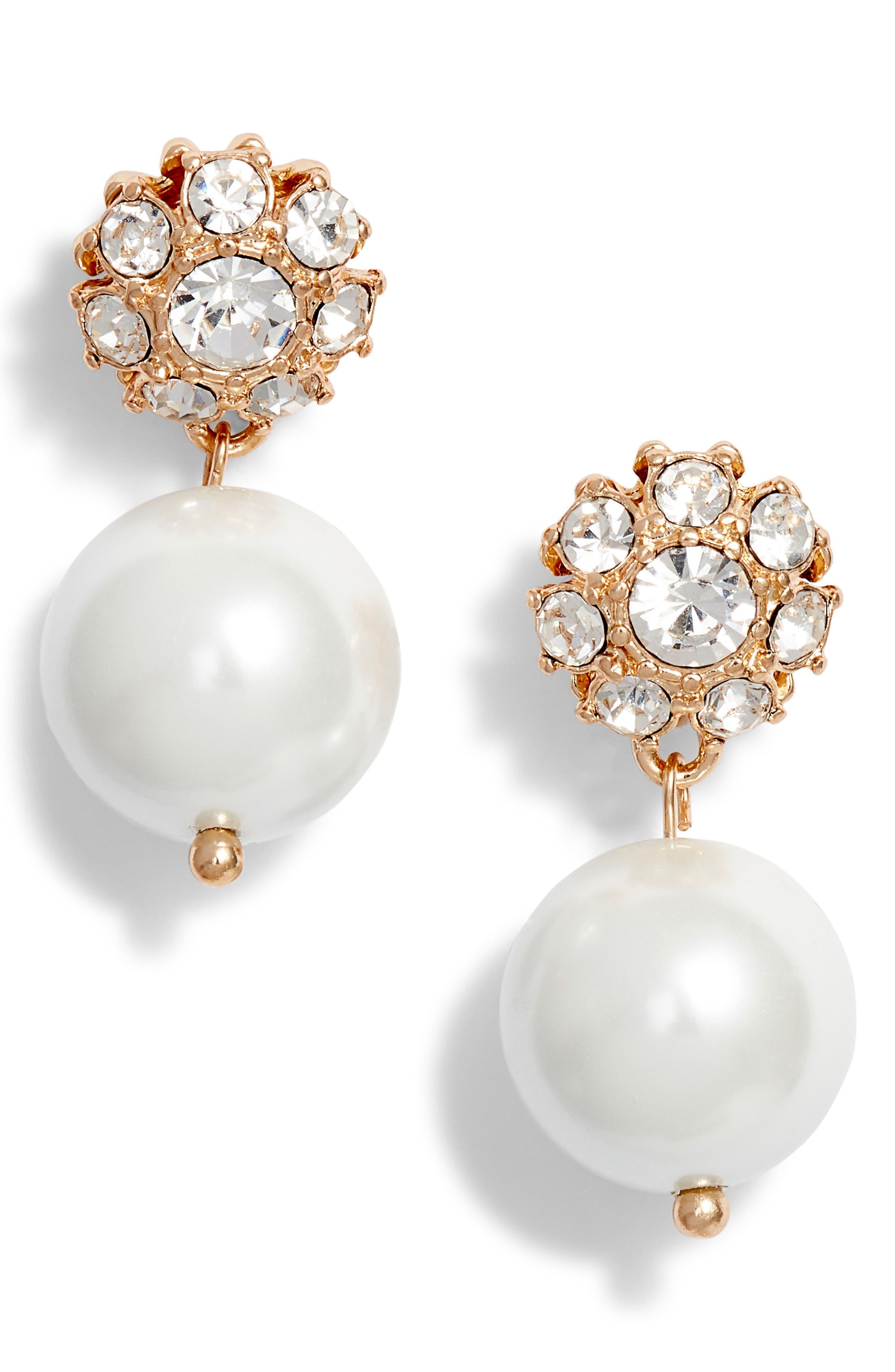 ,                             Imitation Pearl Drop Earrings,                             Main thumbnail 1, color,                             WHITE- GOLD