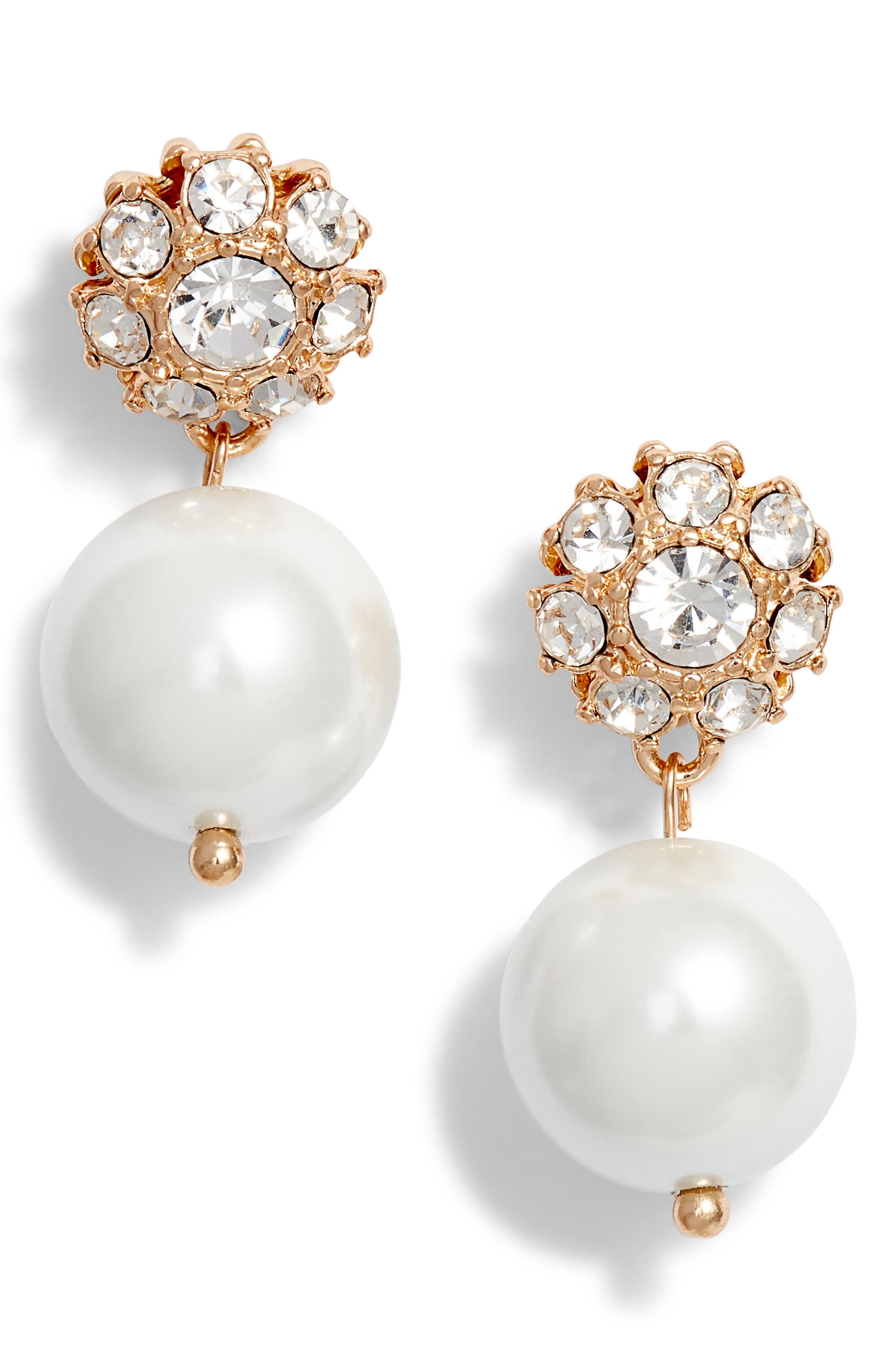 Imitation Pearl Drop Earrings, Main, color, WHITE- GOLD