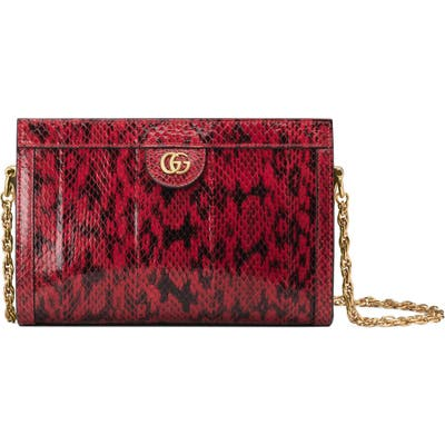 Gucci Smallgenuine Snakeskin Shoulder Bag - Red