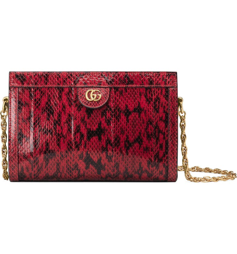 GUCCI SmallGenuine Snakeskin Shoulder Bag, Main, color, HIBISCUS RED/ HIBISCUS RED