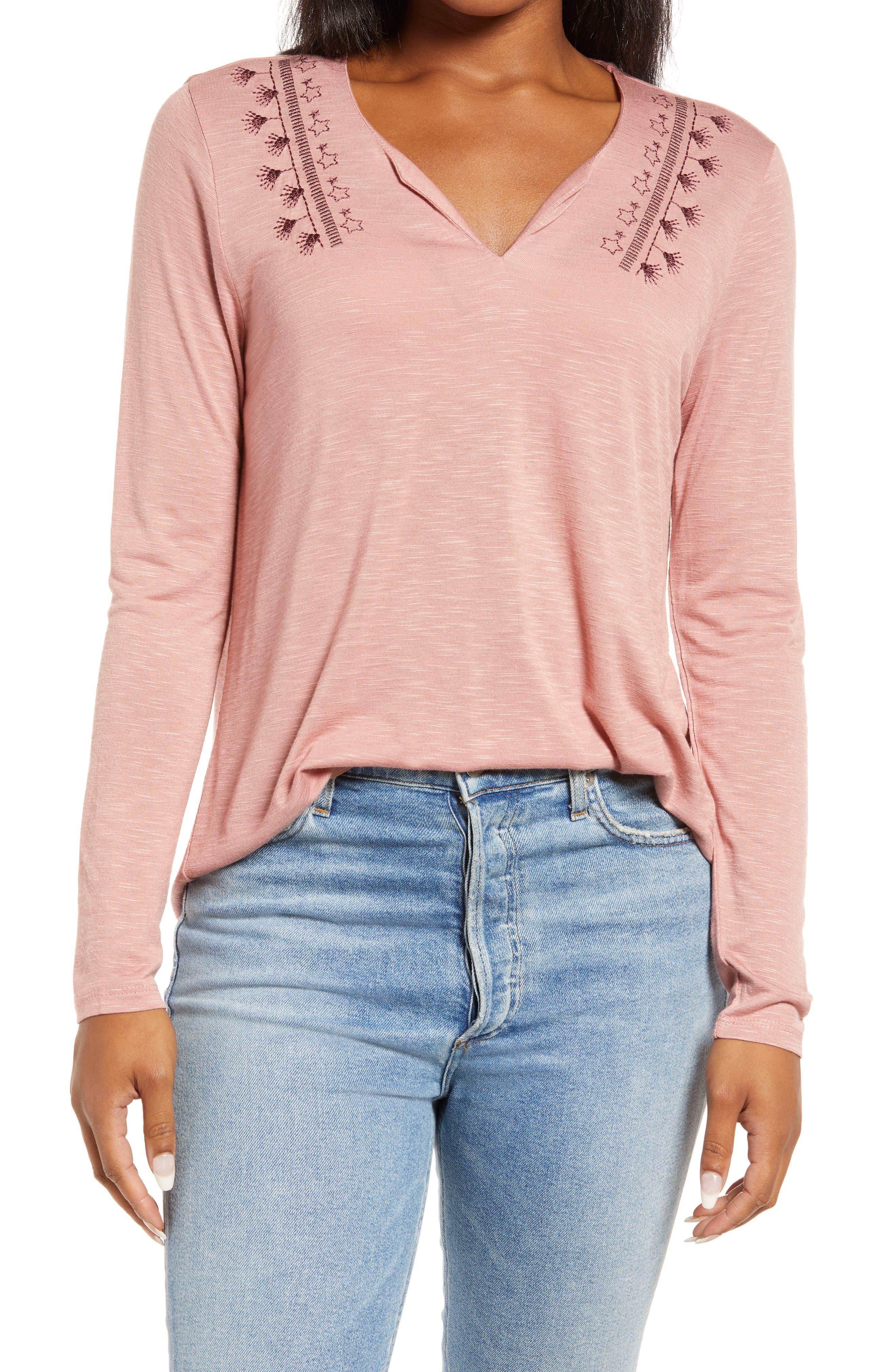 Embroidered Split Neck Long Sleeve T-Shirt