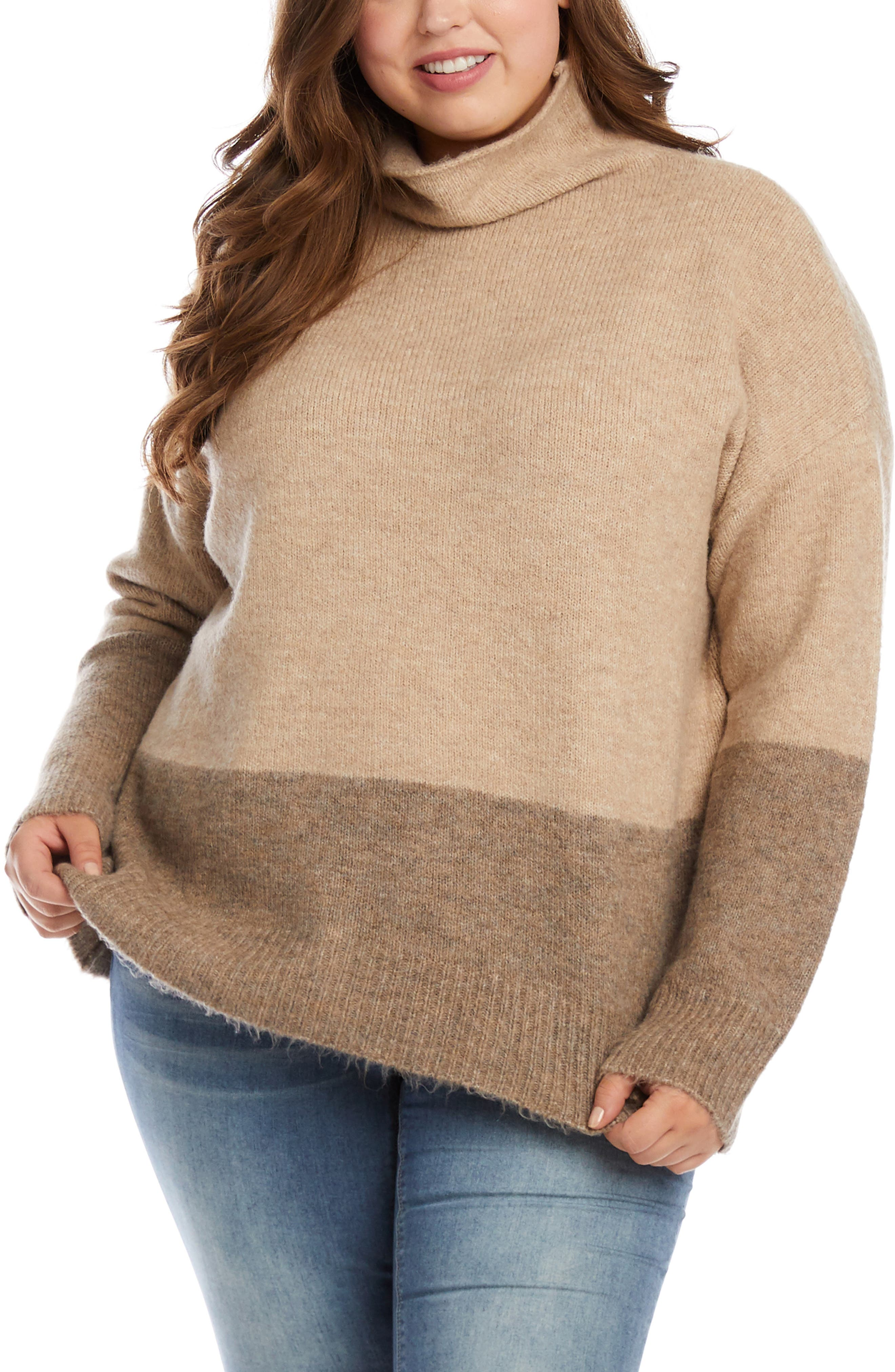 Colorblock Turtleneck Sweater
