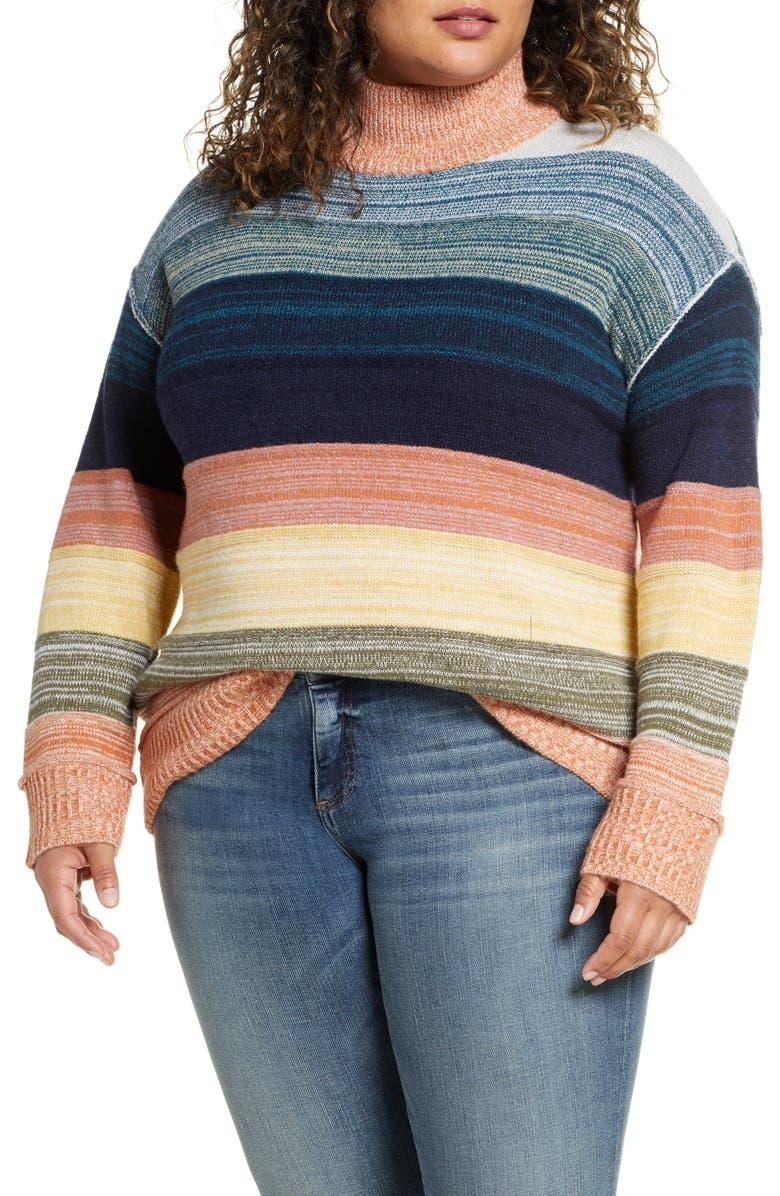 CASLON<SUP>®</SUP> Mock Neck Stripe Sweater, Main, color, CORAL MULTI STRIPE