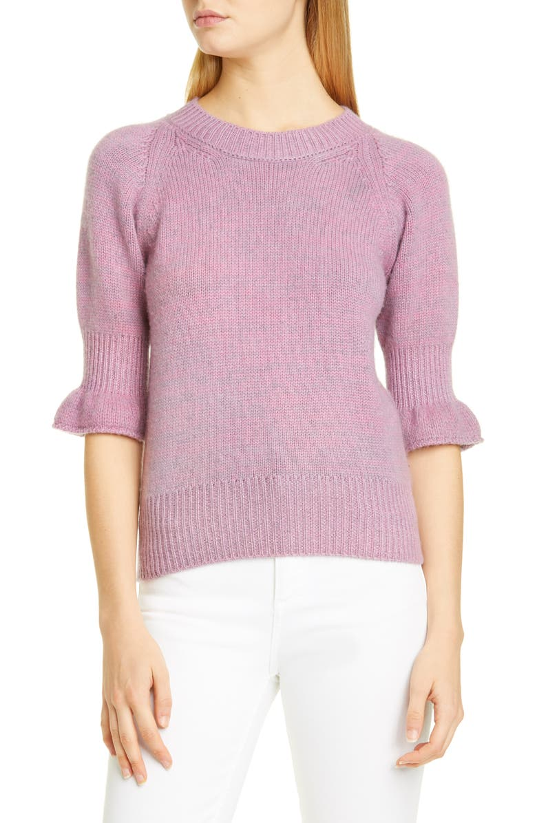 BROCK COLLECTION Flounce Cuff Cashmere Sweater, Main, color, DARK PINK