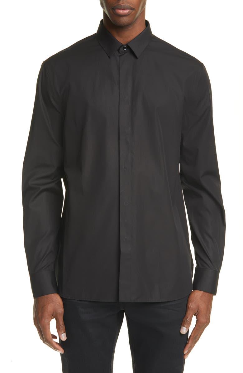 SAINT LAURENT Black Button-Up Shirt, Main, color, BLACK