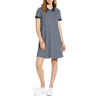 Petite 1901 Stripe Cotton Knit Polo Dress, Blue