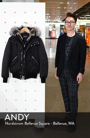 Lux Down Bomber Jacket with Genuine Fox Fur Trim, sales video thumbnail