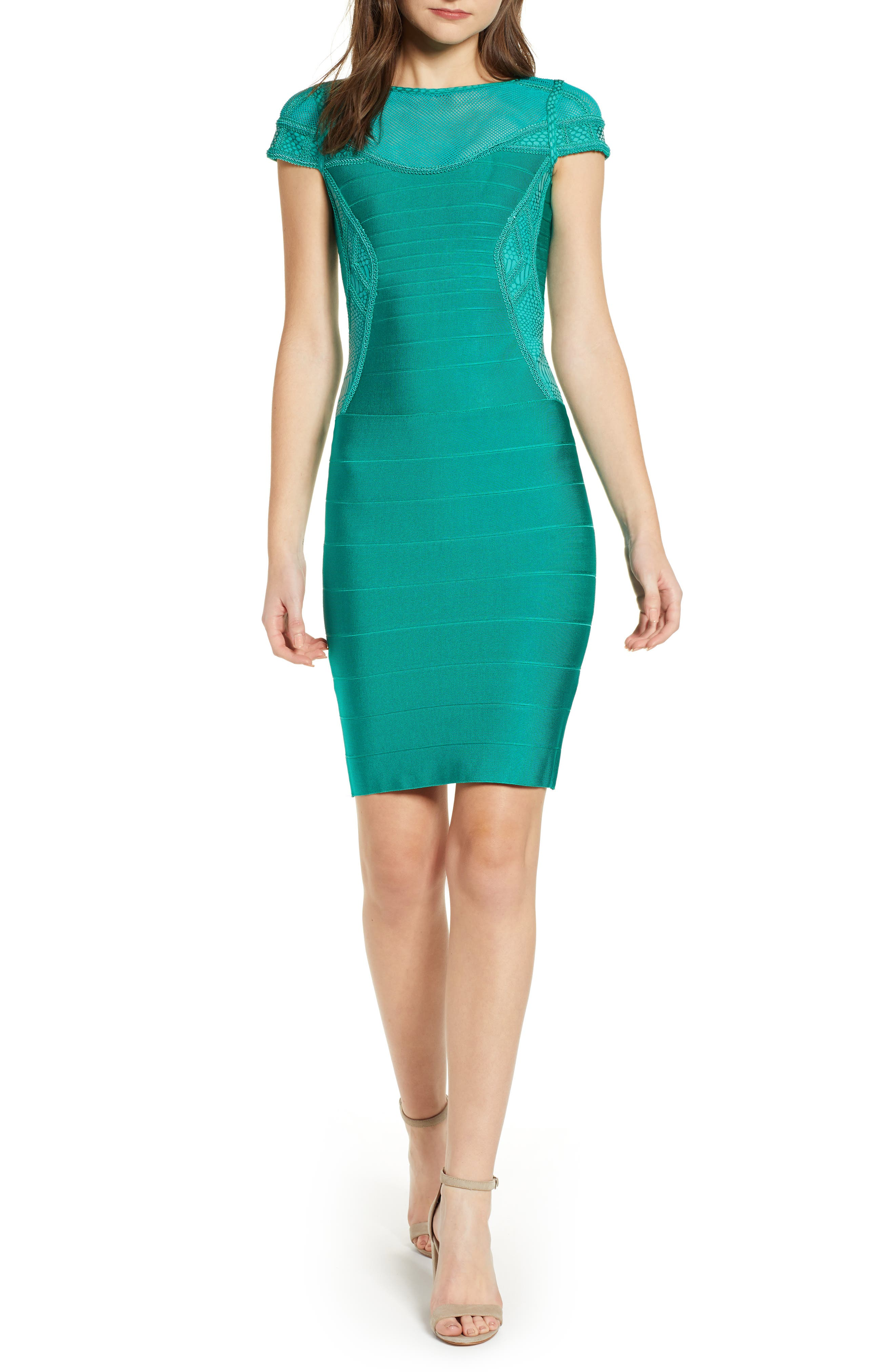Sentimental Ny Embroidered Body-Con Dress, Green