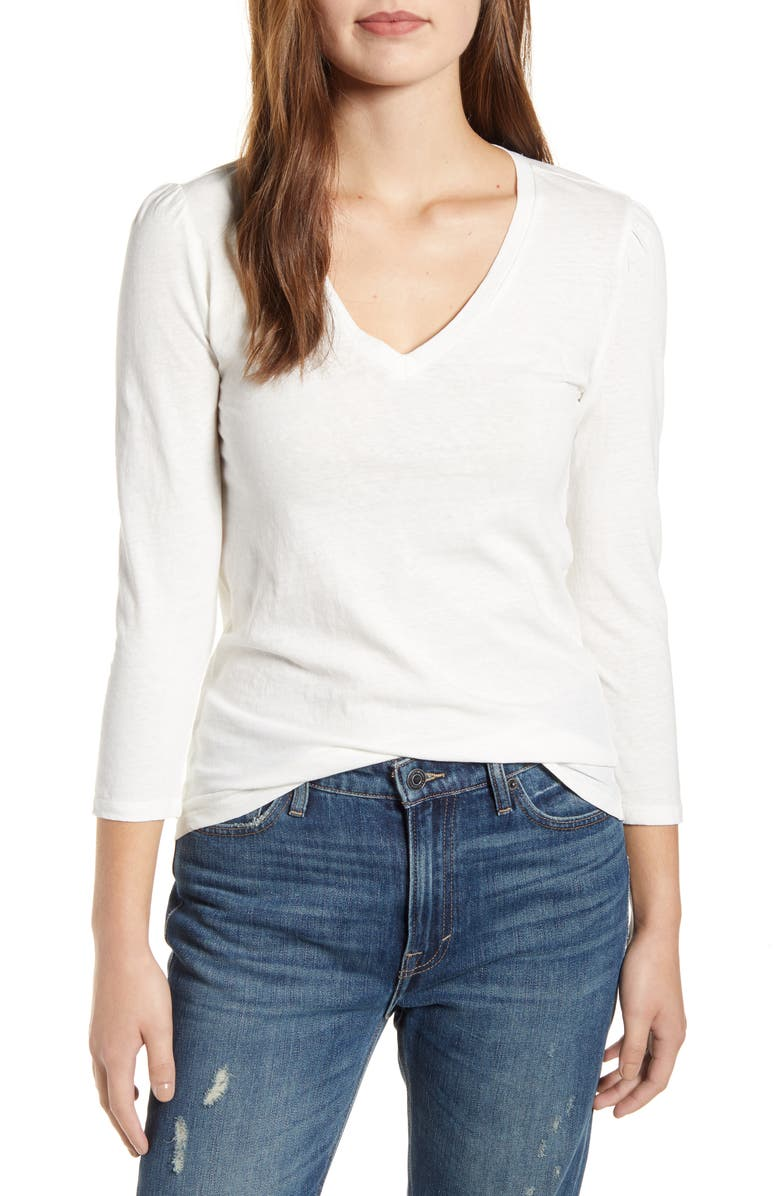 LUCKY BRAND Puff Sleeve V-Neck Top, Main, color, 110