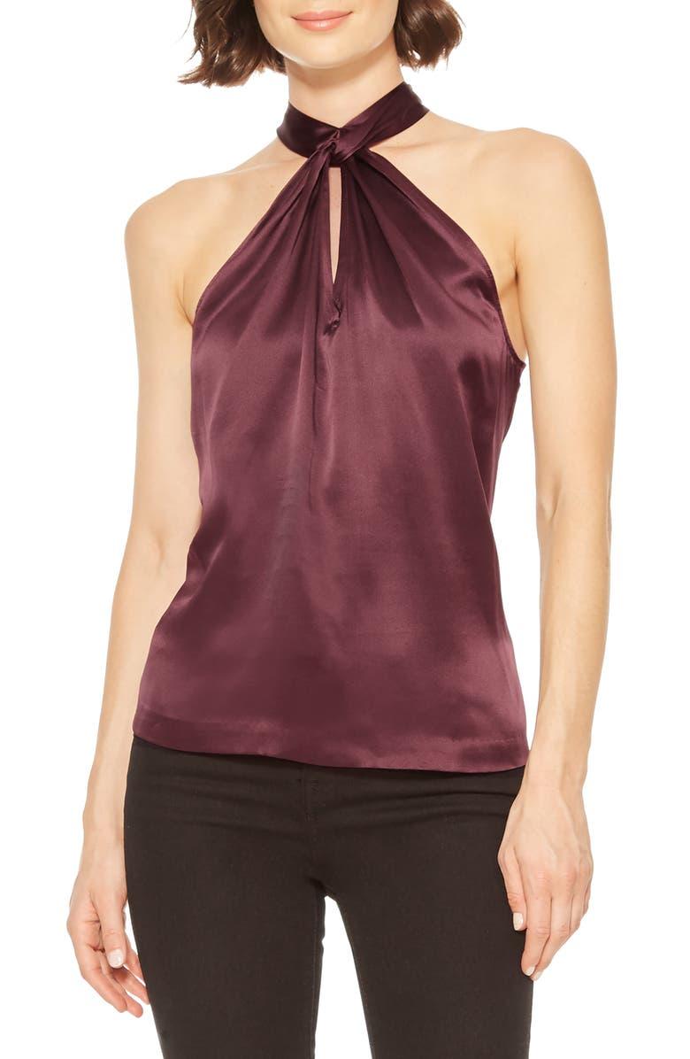 PARKER Dallas Sleeveless Silk Halter Top, Main, color, MAROON