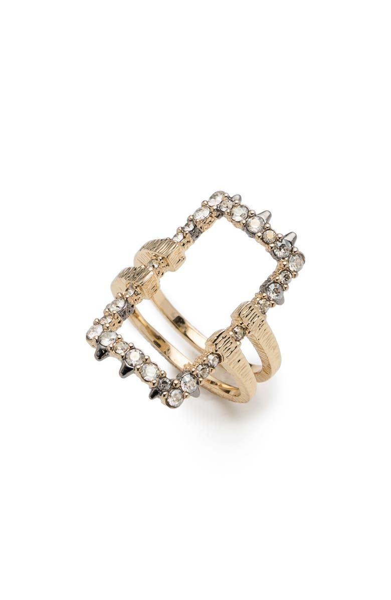 ALEXIS BITTAR Elements Crystal Encrusted Ring, Main, color, GOLD/ RUTHENIUM
