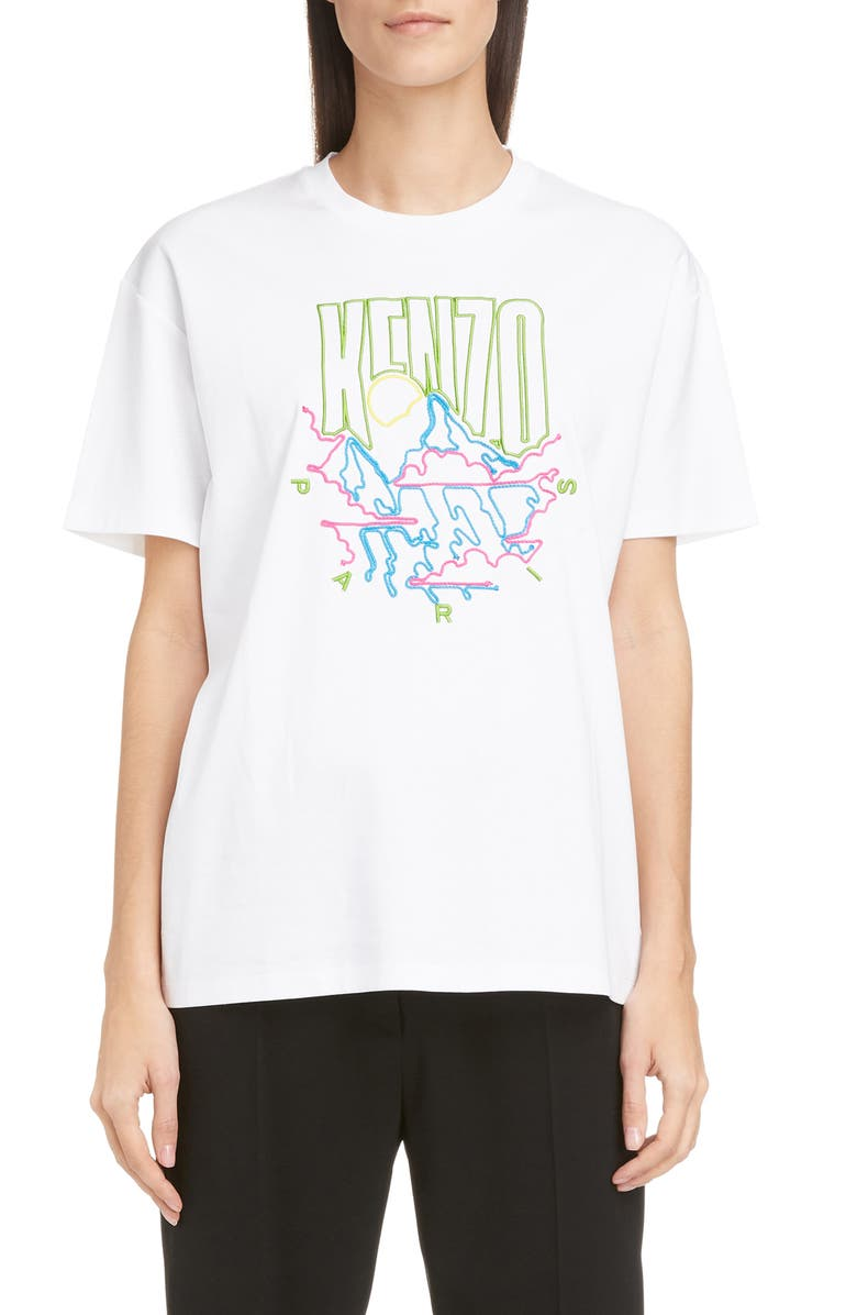 KENZO Mountain Cords Crewneck Tee, Main, color, WHITE