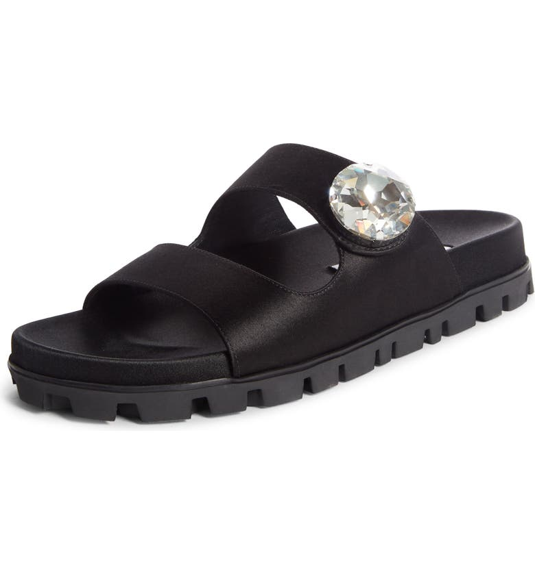 MIU MIU Crystal Button Slide Sandal, Main, color, BLACK