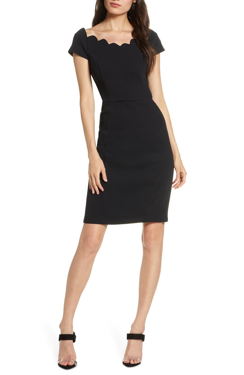 HARLYN Scallop Neck Sheath Dress, Main, color, 001