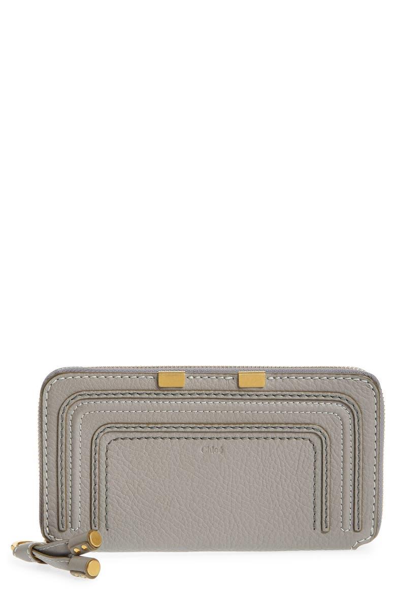 CHLOÉ 'Marcie - Long' Zip Around Wallet, Main, color, CASHMERE GREY