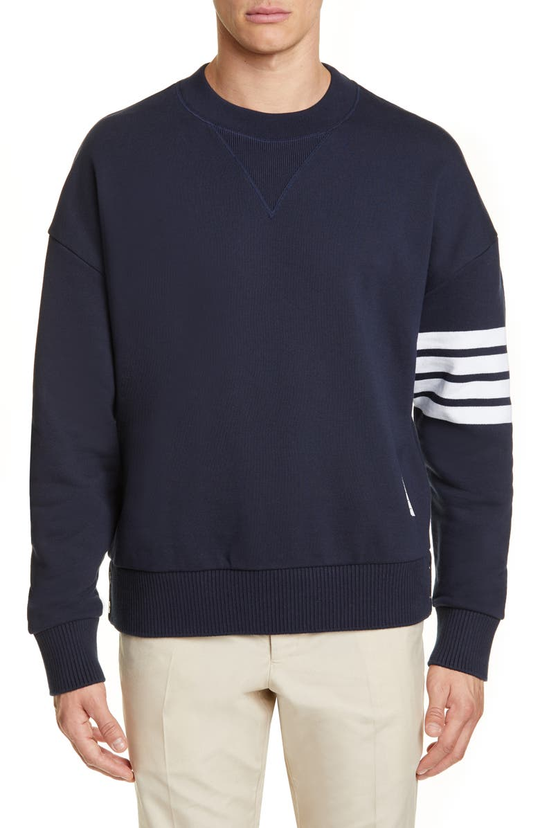 THOM BROWNE Four-Bar Sweatshirt, Main, color, NAVY