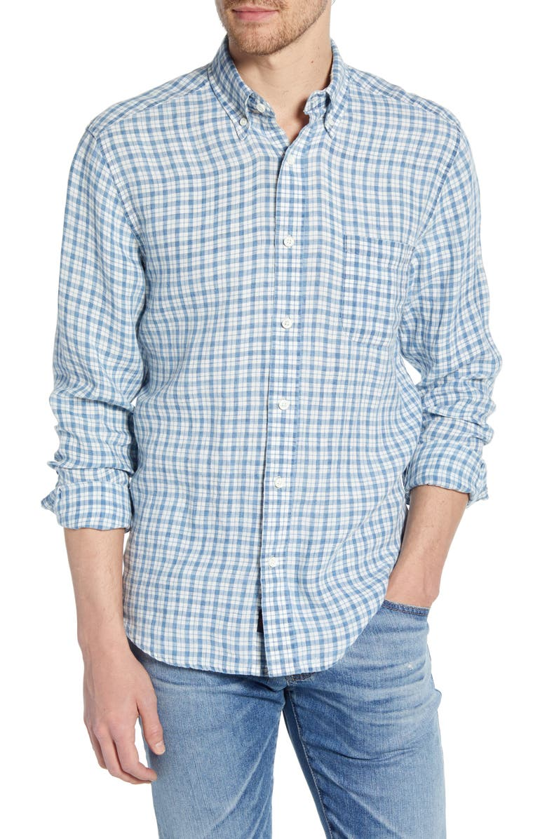 FAHERTY Ventura Plaid Linen Shirt, Main, color, INDIGO CHECK