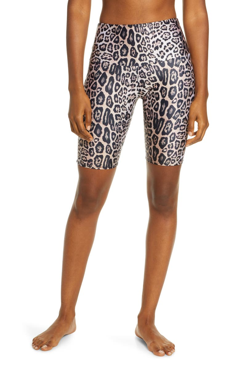 ONZIE High Waist Bike Shorts, Main, color, LEOPARD