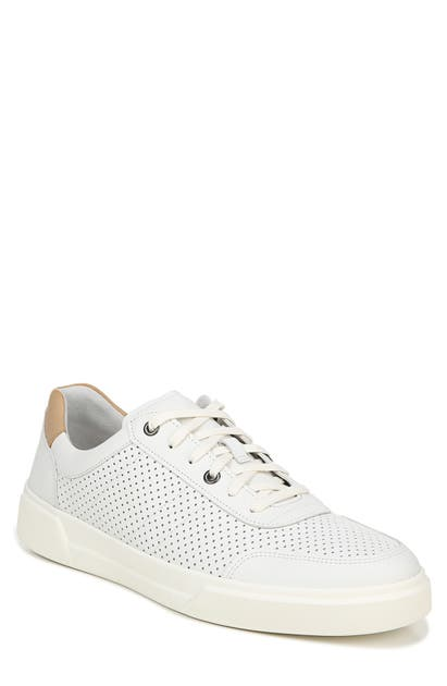 Vince Men's Barnett 3 Perforated Leather Low-top Sneakers In White