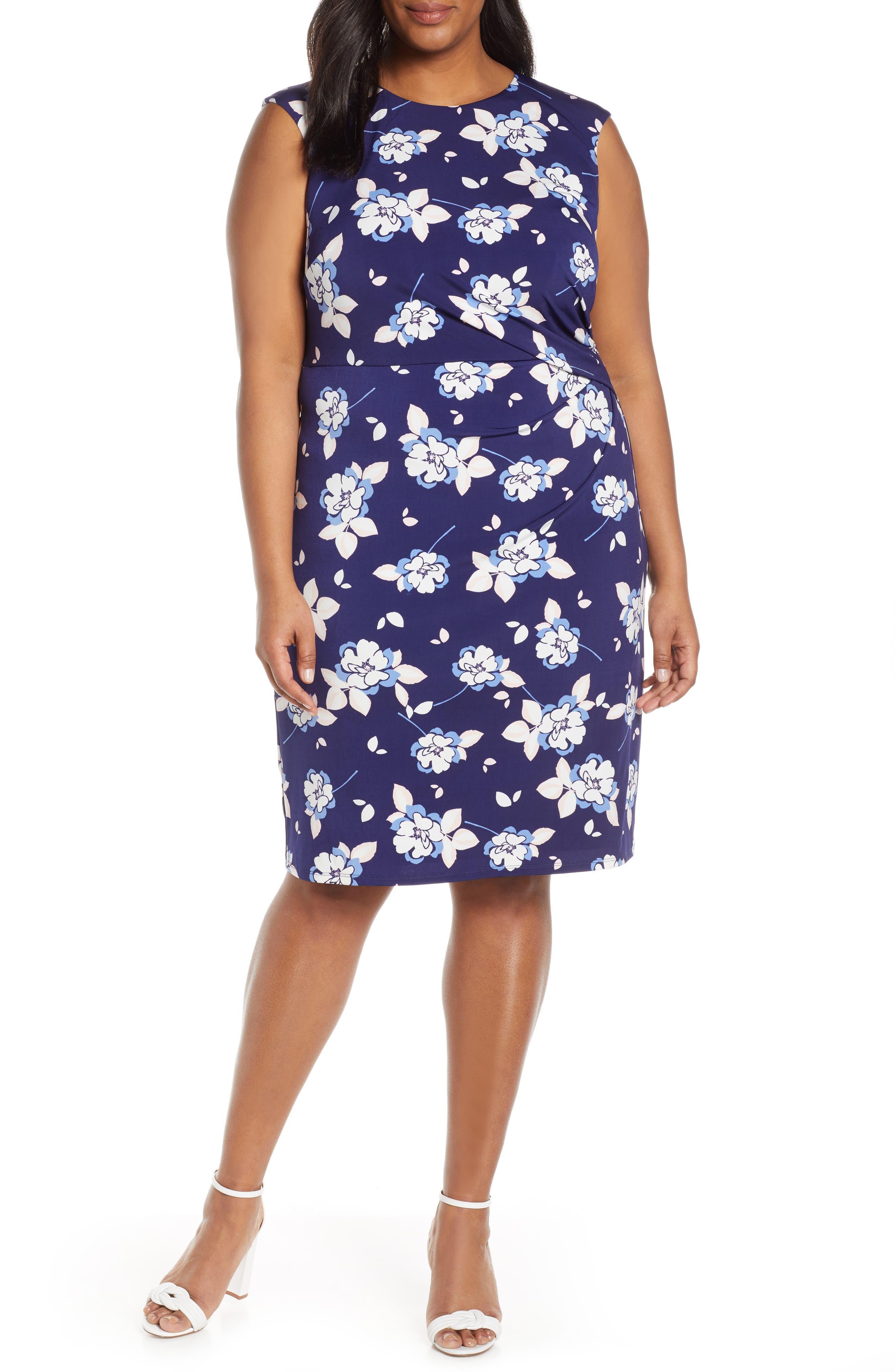 Plus Size Eliza J Floral Print Sheath Dress, Blue