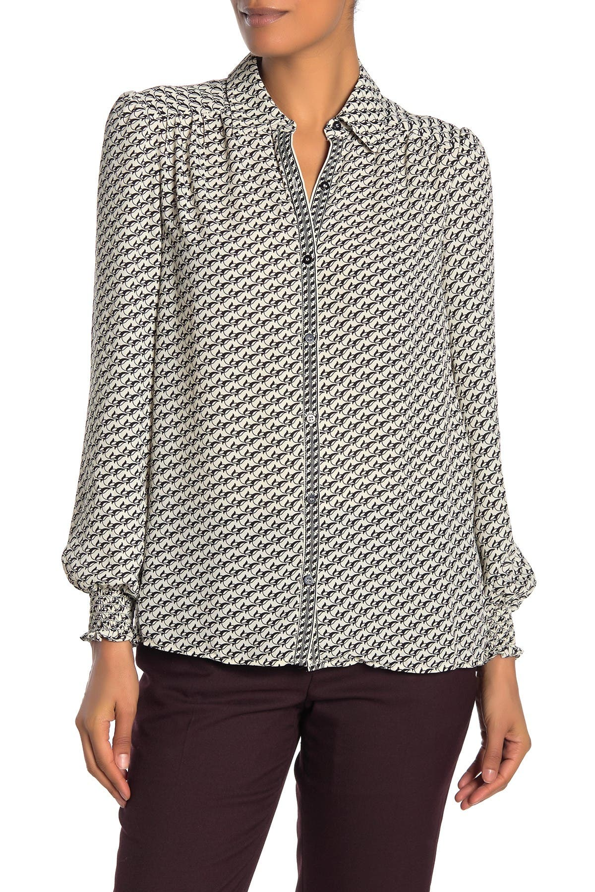 Image of Max Studio Smocked Cuff Long Sleeve Blouse