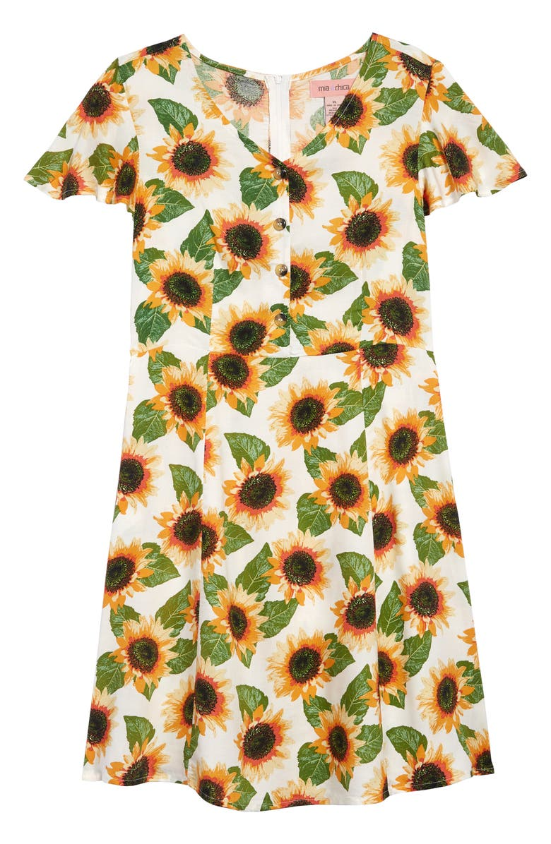 MIA CHICA Sunflower Flutter Sleeve Sundress, Main, color, 700