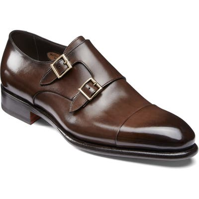 Santoni Ira Double Monk Strap Shoe, Brown