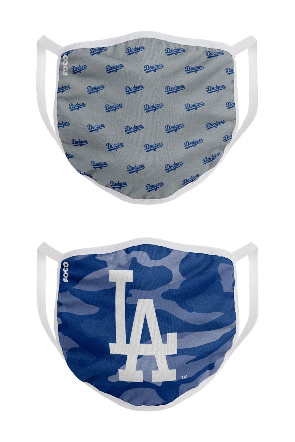 Image of FOCO MLB Los Angeles Dodgers Clutch Printed Face Cover - Pack of 2