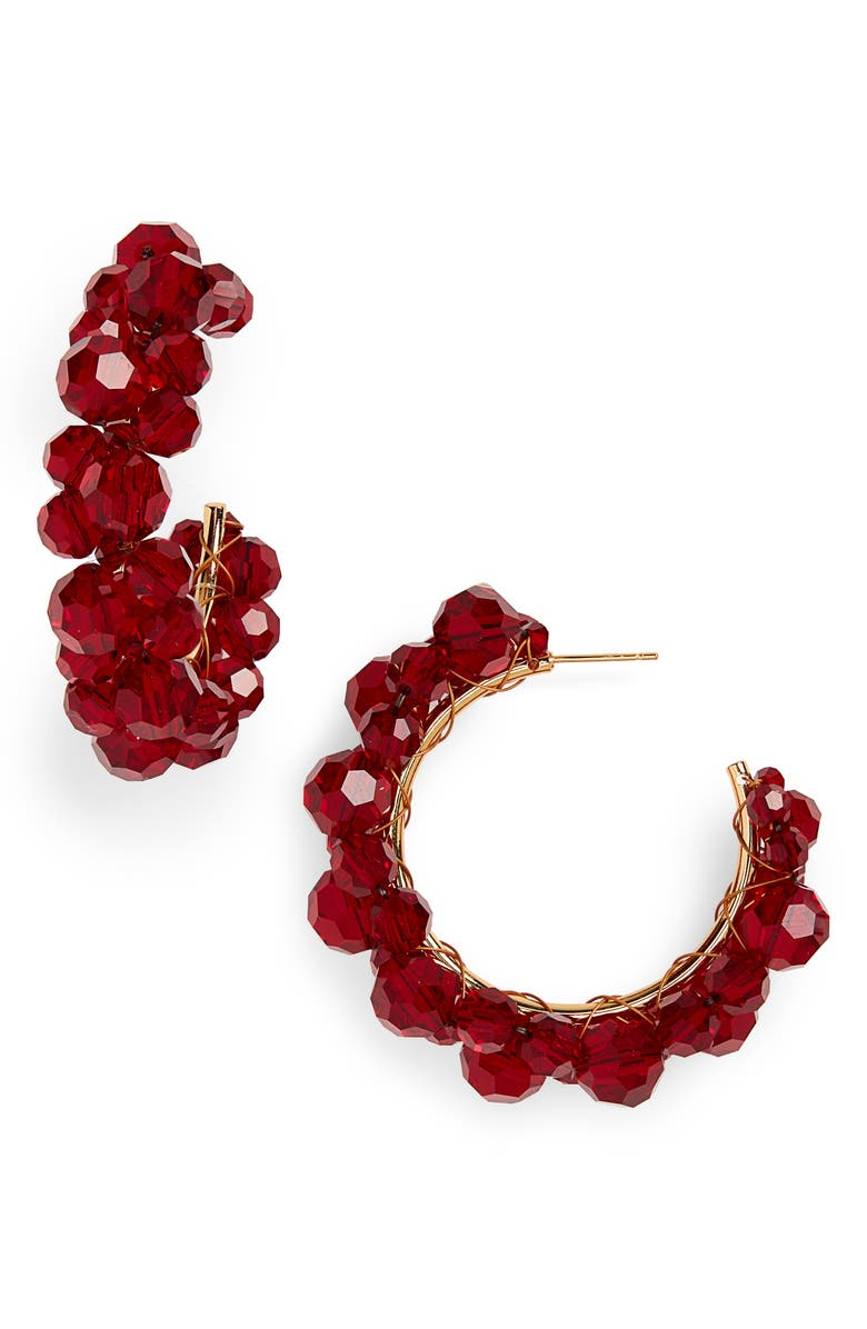 SIMONE ROCHA Wiggle Crystal Hoop Earrings, Main, color, BLOOD RED