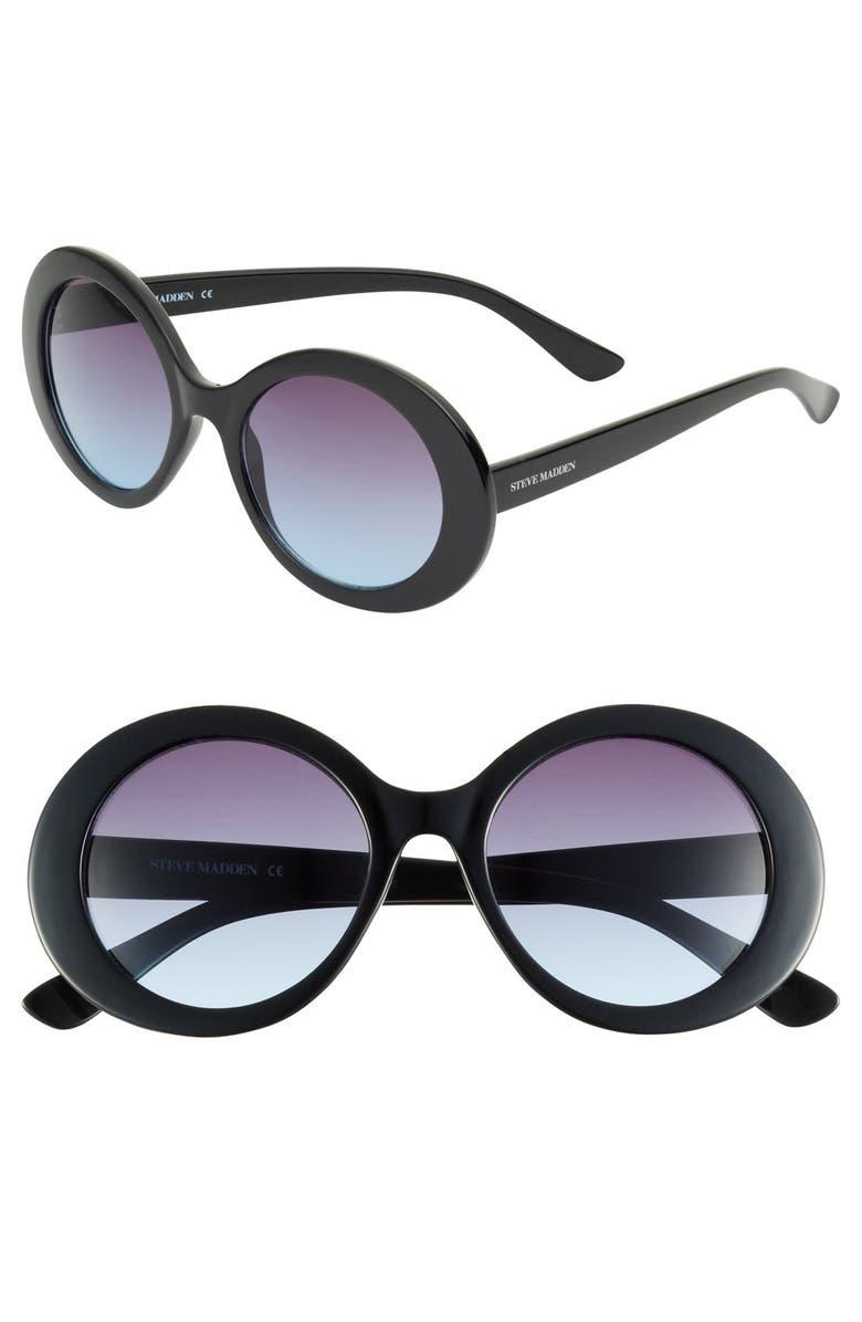 STEVE MADDEN Round Sunglasses, Main, color, 001
