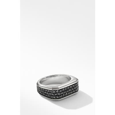 David Yurman Roman Signet Ring With Black Diamonds
