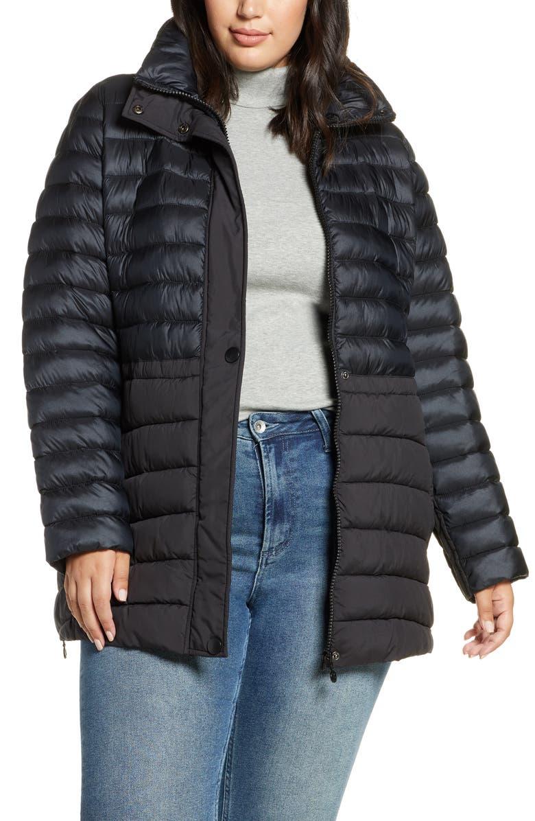 BERNARDO Mixed Media Packable Puffer Jacket, Main, color, 001