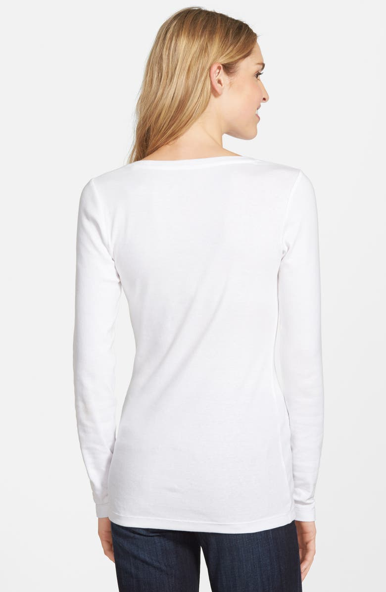 CASLON<SUP>®</SUP> Long Sleeve Scoop Neck Cotton Tee, Main, color, WHITE