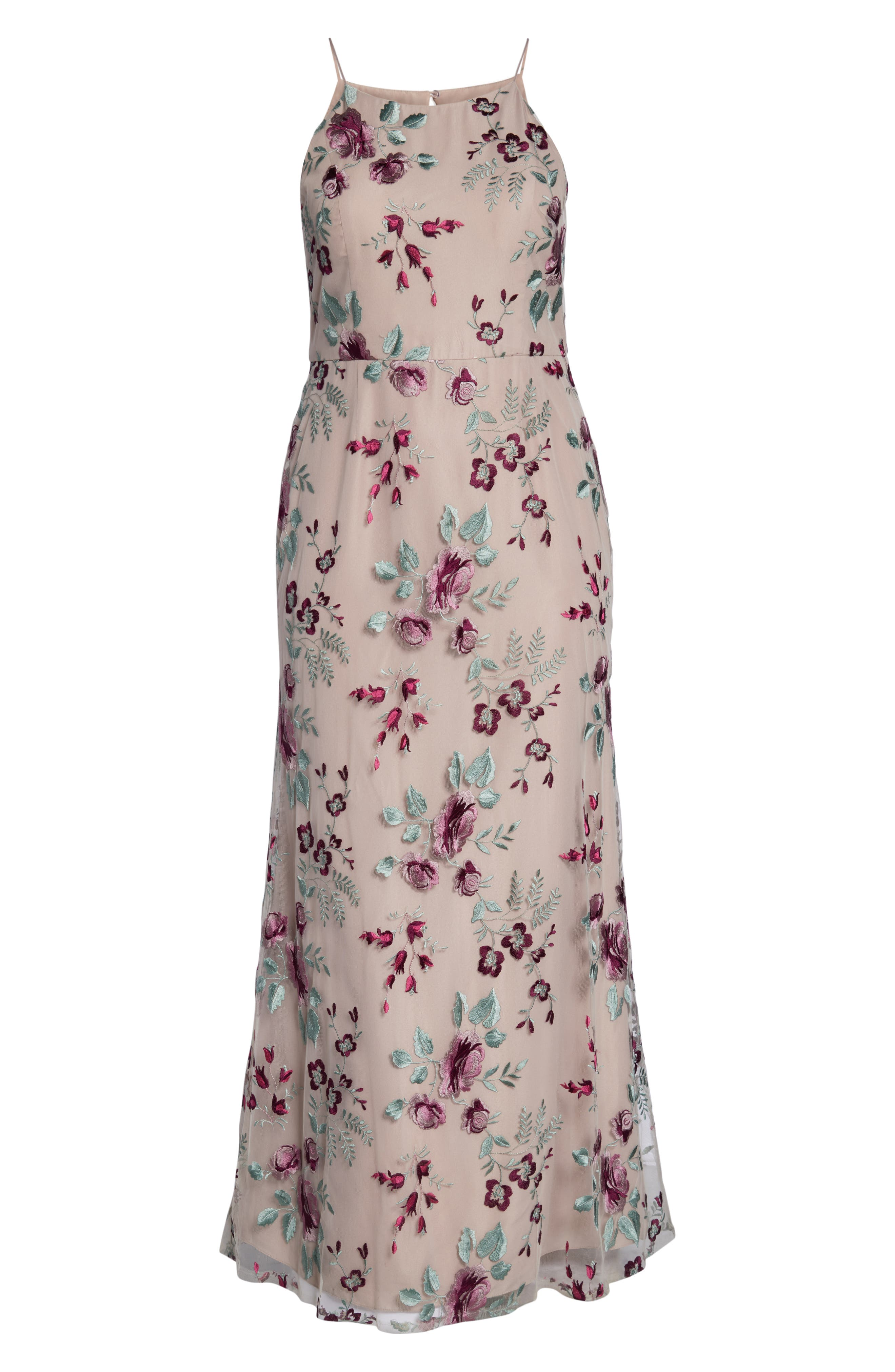 ,                             Claire Floral Embroidered Gown,                             Alternate thumbnail 7, color,                             BERRY VINTAGE IRIS