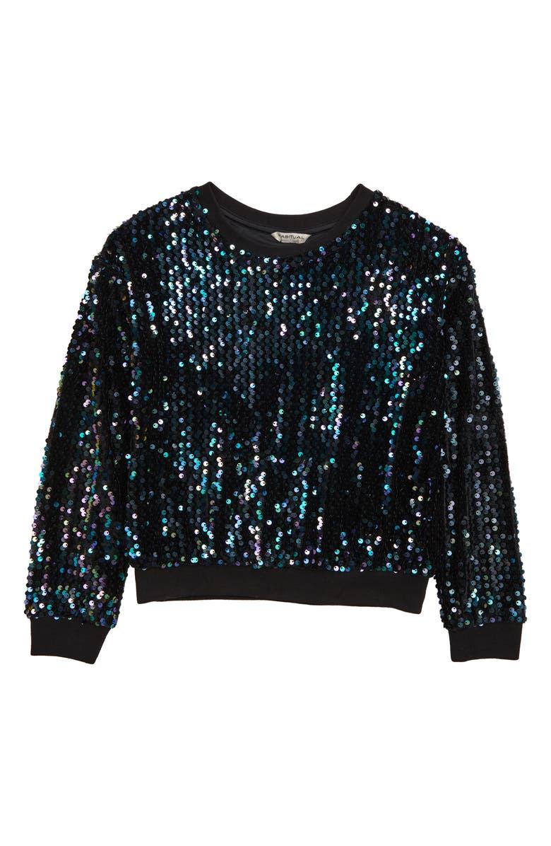 HABITUAL Ember Sequin Sweatshirt, Main, color, BLACK