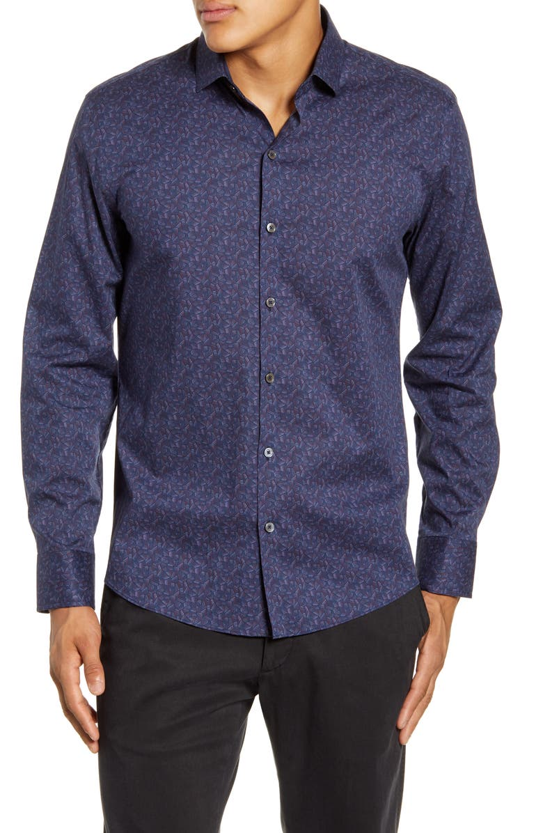 ZACHARY PRELL Fiouris Regular Fit Button-Up Shirt, Main, color, NAVY