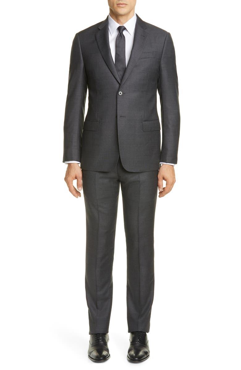 EMPORIO ARMANI G Line Trim Fit Dot Wool Suit, Main, color, GREY