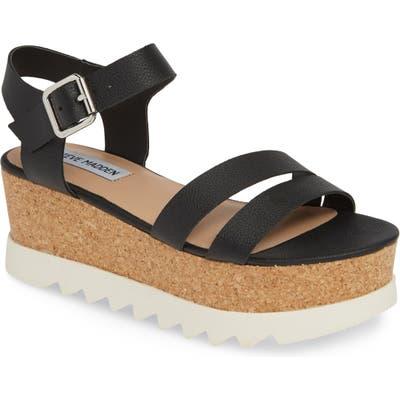 Steve Madden Keykey Platform Wedge Sandal- Black
