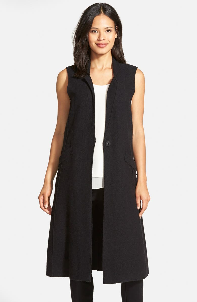 EILEEN FISHER Notch Collar Long Merino Wool Vest, Main, color, 001