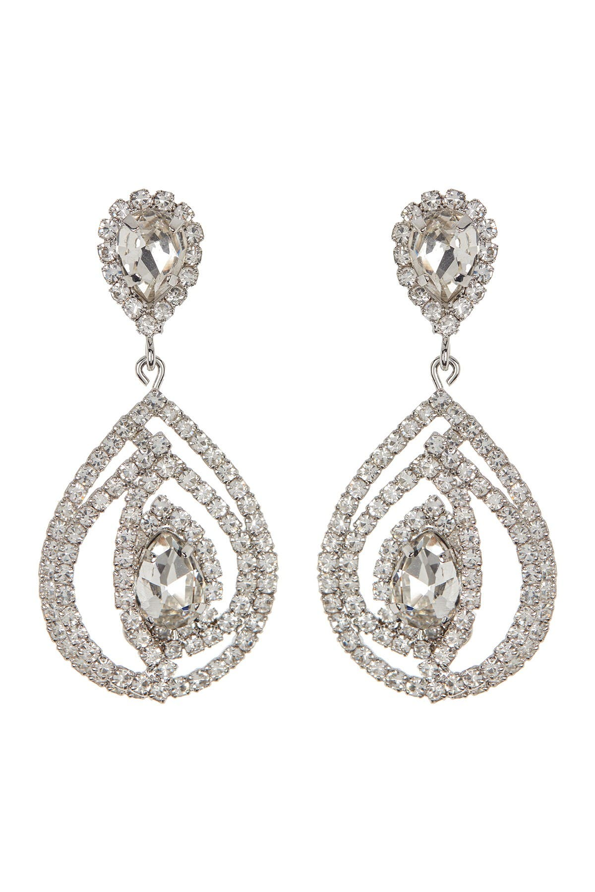 Image of CRISTABELLE Pave Crystal Open Teardrop Earrings
