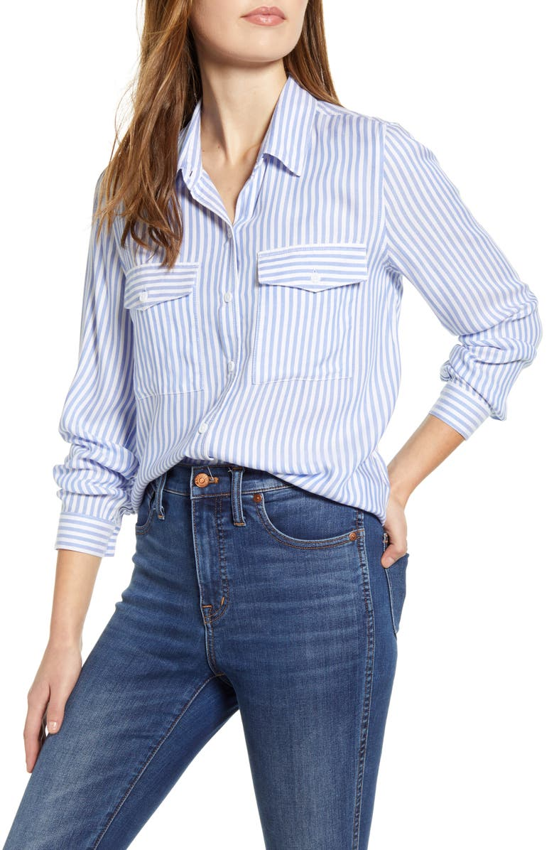 BEACHLUNCHLOUNGE Frankie Stripe Button-Up Blouse, Main, color, 454