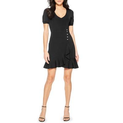 Parker Galice Faux Wrap Minidress, Black