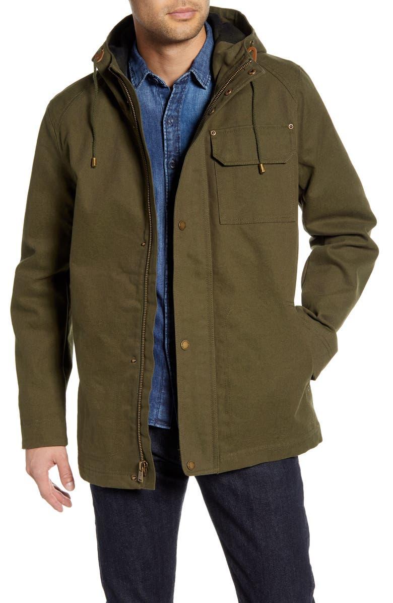 PENDLETON Cascade Water Repellent Cotton Raincoat, Main, color, OLIVE
