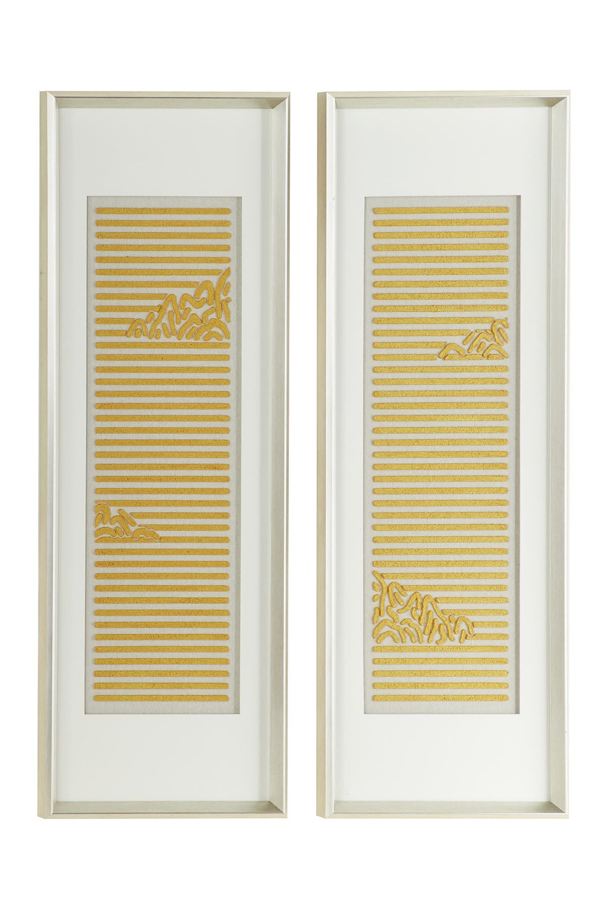 Willow Row Rectangular White Framed Abstract Yellow Cotton Patterned Acrylic Shadow Box - Set Of 2 at Nordstrom Rack