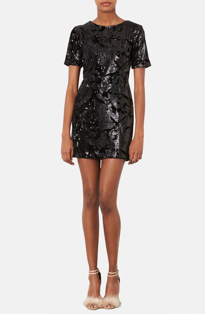 TOPSHOP Sequin Velvet Shift Dress, Main, color, 001