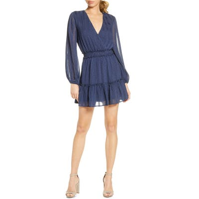 Nsr Belle Long Sleeve Crinkle Chiffon Minidress, Blue