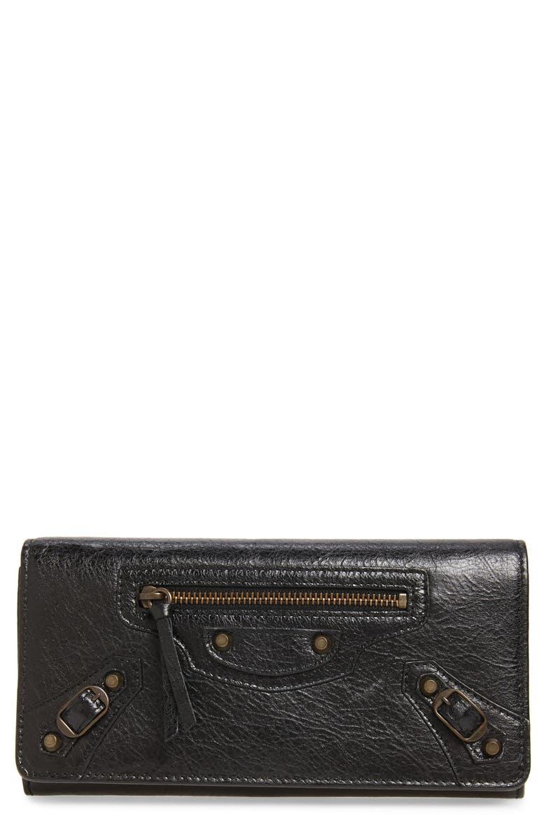 BALENCIAGA Classic Money Leather Wallet, Main, color, 001