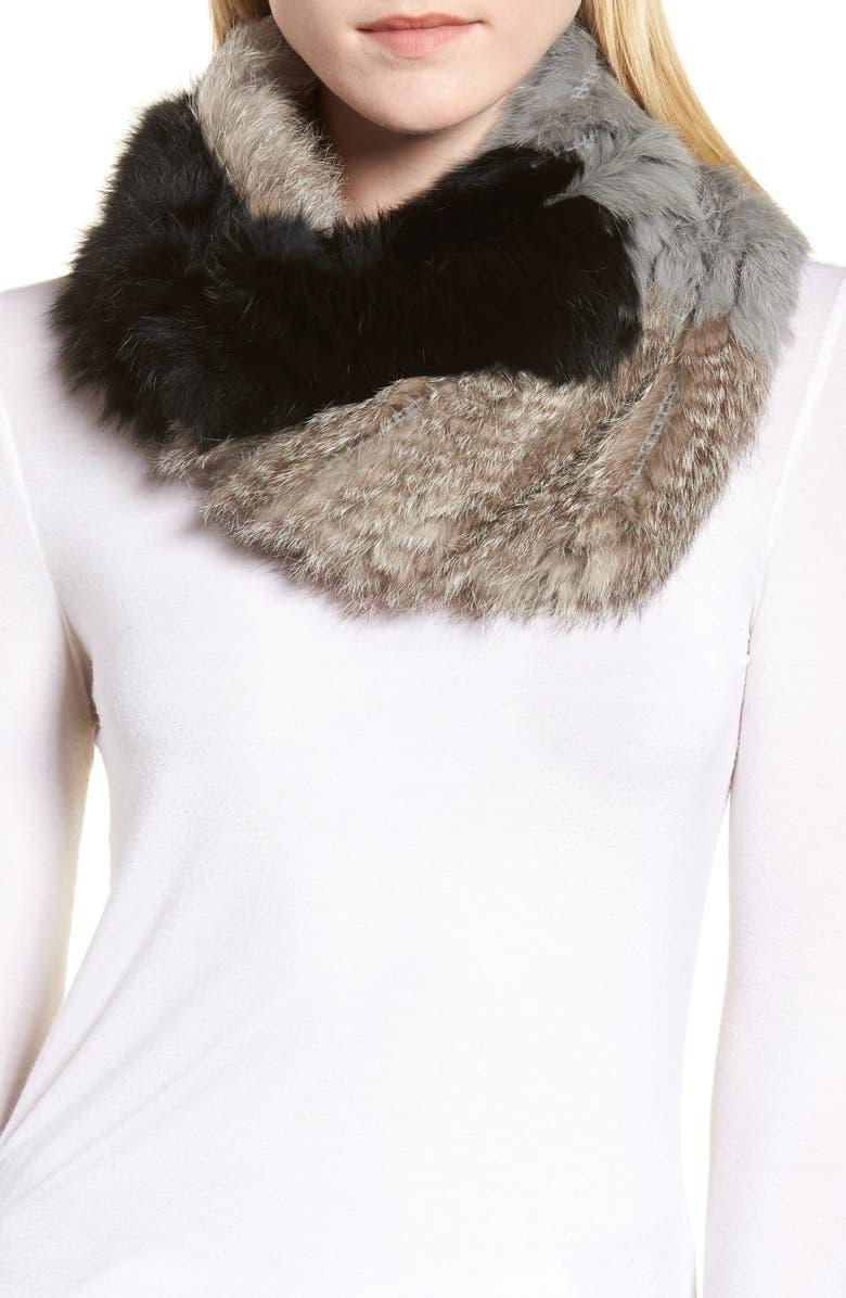 LA FIORENTINA Genuine Rabbit Fur Infinity Scarf, Main, color, 001