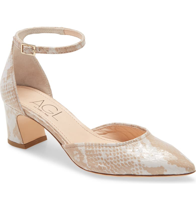AGL d'Orsay Ankle Strap Pump, Main, color, NUDE MULTI PATENT